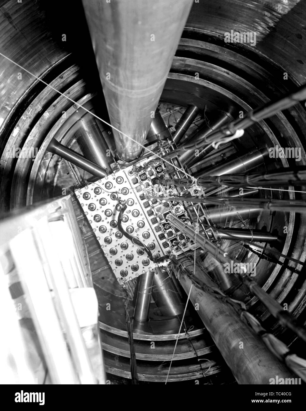 Reactor core area viewed from the top of the pressure tank, 1961. Image courtesy National Aeronautics and Space Administration (NASA). () - Stock Image