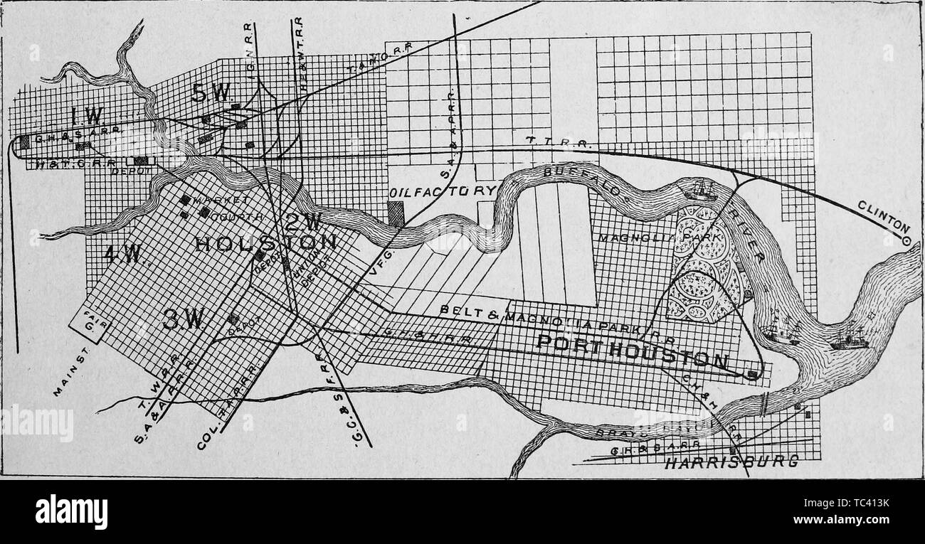 Engraved map of Port Houston, from the book 'The City of ... on texas map, houston independent school district map, citycentre houston map, los angeles houston map, water wall houston map, northeast houston map, downtown houston map, houston city district map, city md map, houston city road map, city nc map, city ny map, md anderson houston map, houston city council map, harris county zip code map, 1920s houston map, houston city limits map, movie theaters houston map, detroit houston map, city arkansas map,