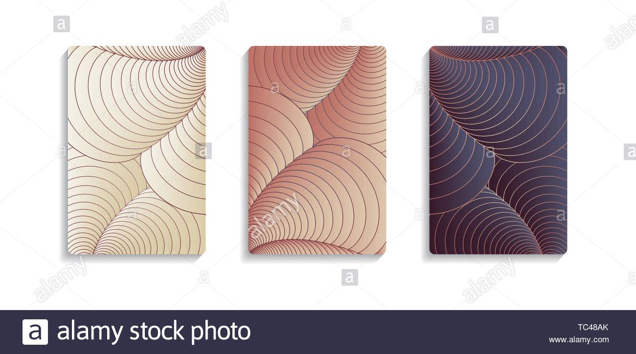 three abstract covers with shells curves in retro shades - Stock Image