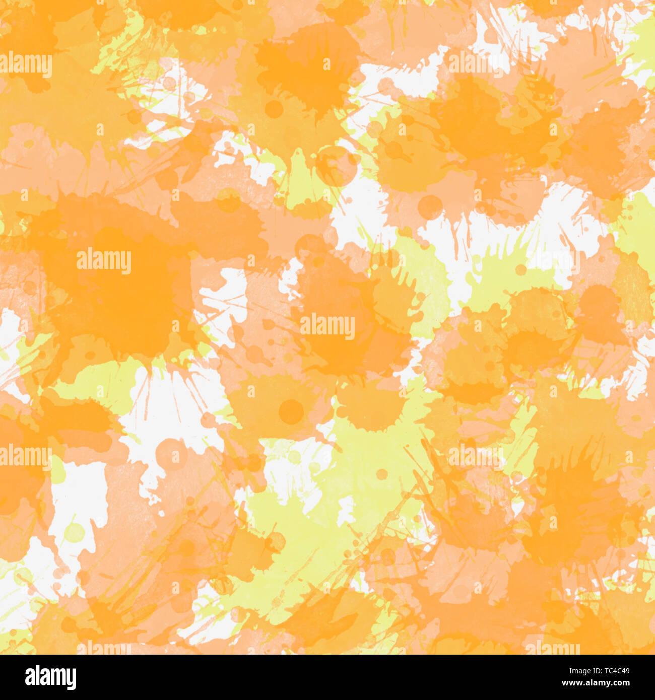 Abstract Orange Painting Art Splashes Of Paint On White