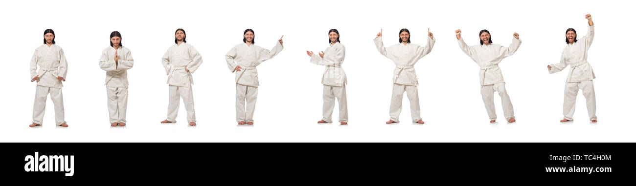 Karate fighter isolated on white - Stock Image