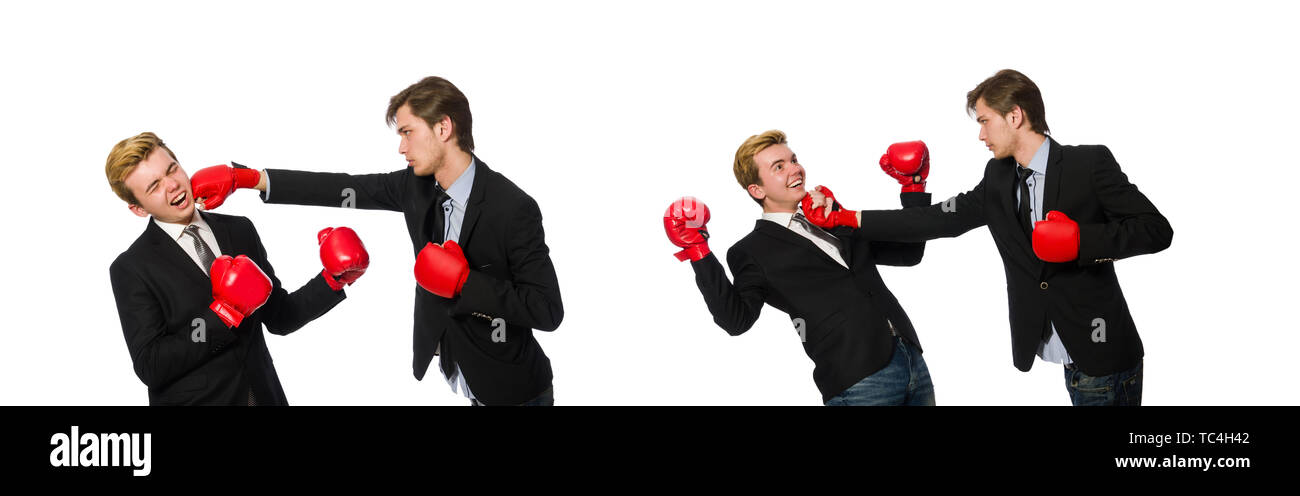 Pair of businessmen boxing on white - Stock Image
