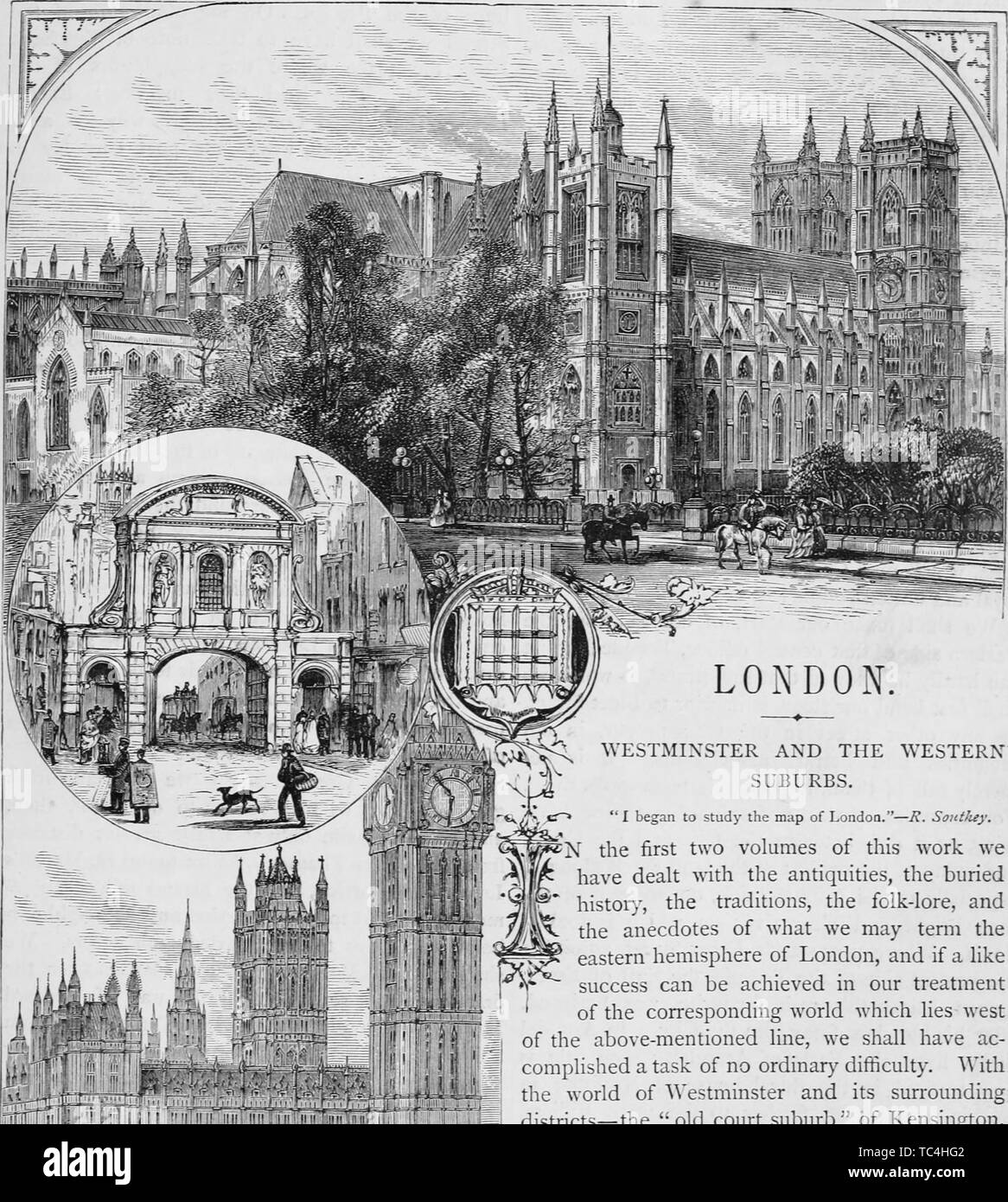 Engravings of the Westminster Abbey and Houses of Parliament in London, England, from the book 'Old and new London: a narrative of its history, its people, and its places' by Thornbury Walter, 1508. Courtesy Internet Archive. () - Stock Image