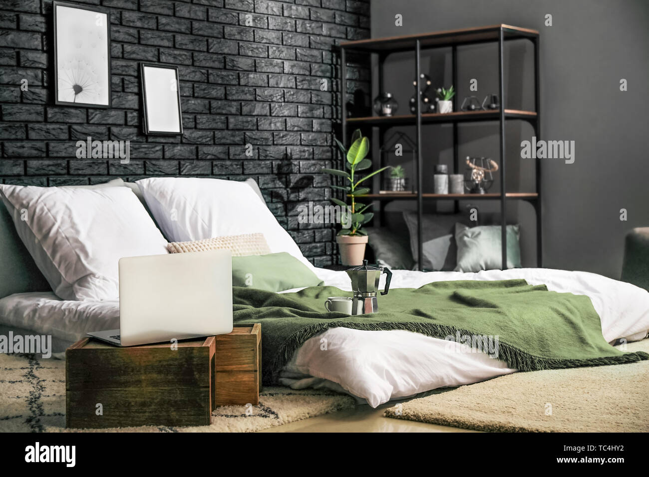Beautiful Interior Of Modern Stylish Bedroom Stock Photo Alamy