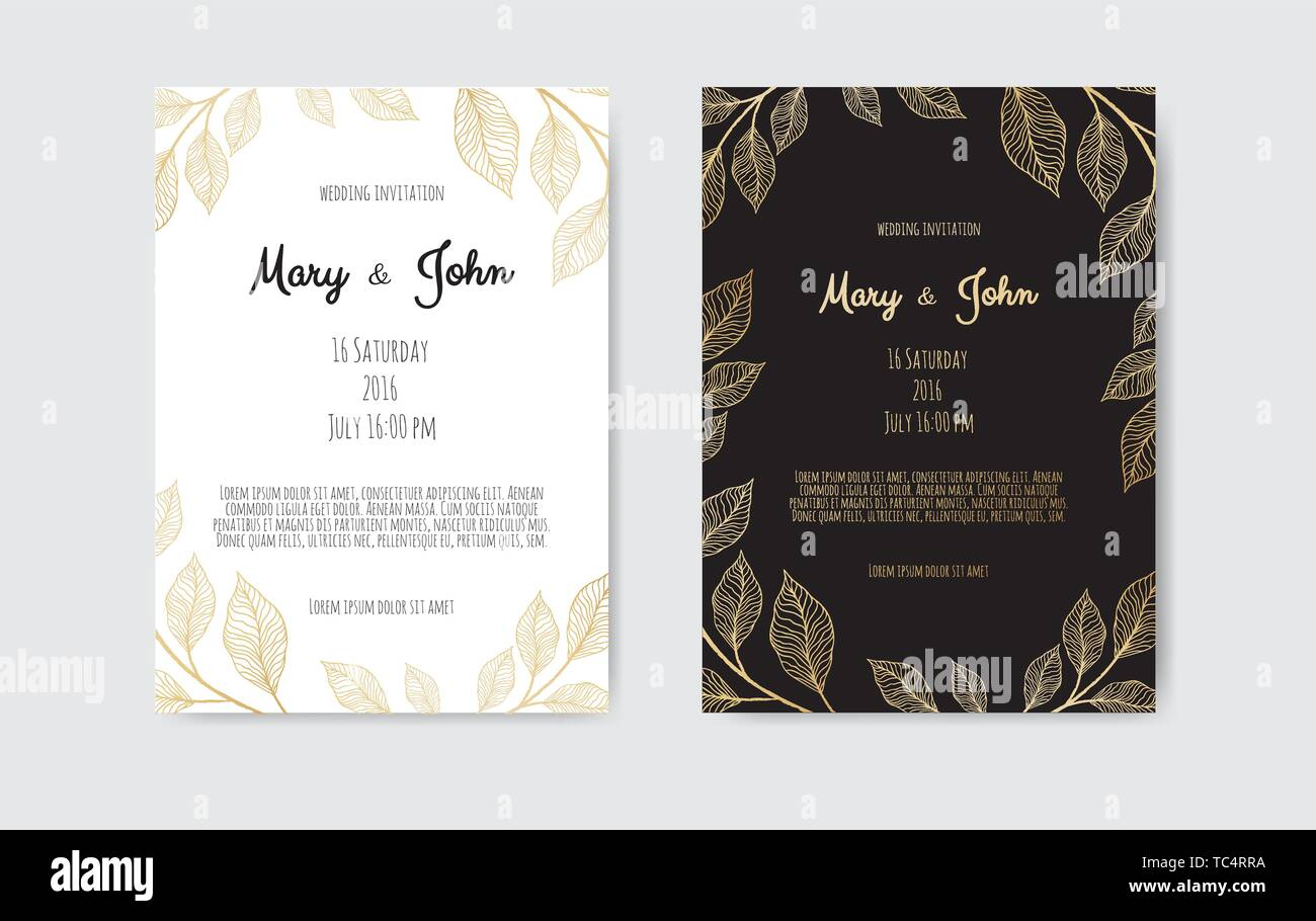 Vector Invitation With Gold Floral Elements Luxury Ornament