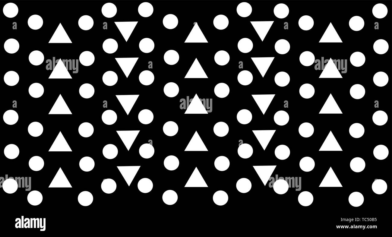black white print triangles and circles pattern minimalist background - Stock Image