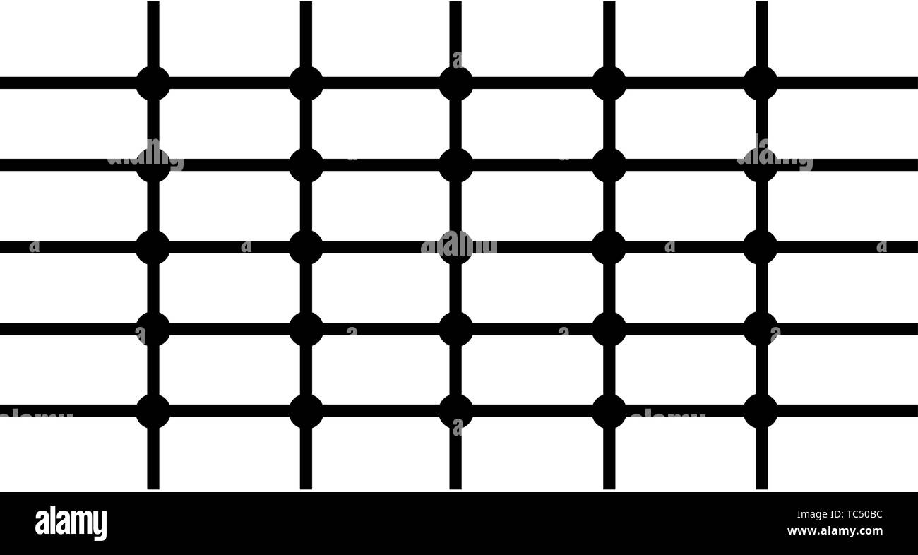 black white print lines and small circles pattern minimalist background - Stock Image
