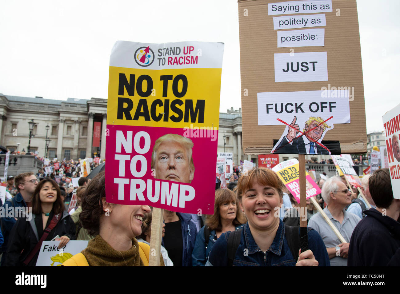 Protests against the state visit of US President Donald Trump on 4th June 2019 in London, United Kingdom. Organisers Together Against Trump which is a collaboration between the Stop Trump Coalition and Stand Up To Trump, have organised a carnival of resistance, a national demonstration to protest against President Trump's policies and politics during his official UK visit. - Stock Image
