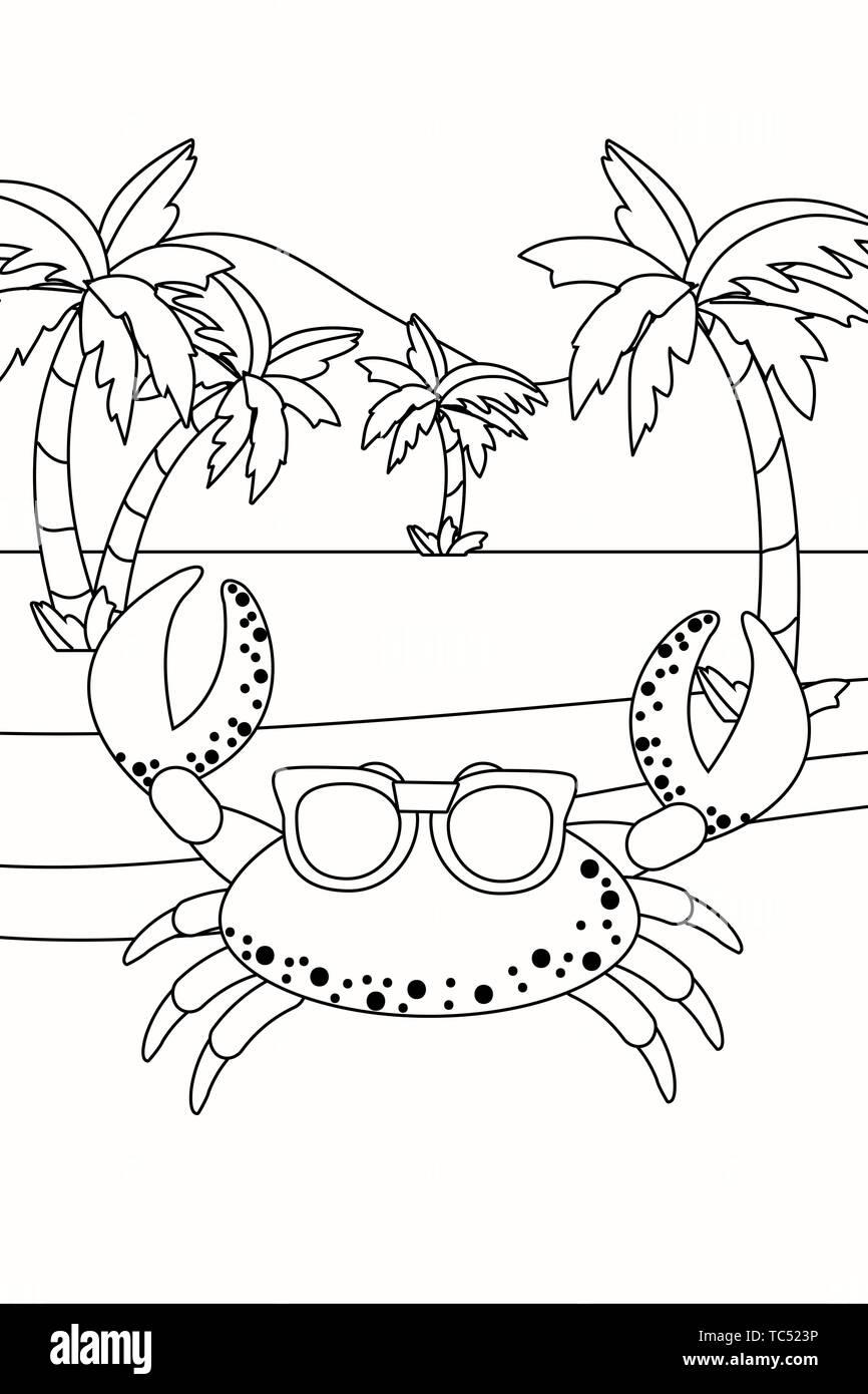 Crab Cartoon Design Ocean Nature Beach Underwater And Aquarium Theme Vector Illustration Stock Vector Image Art Alamy
