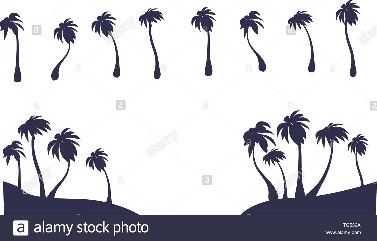 Abstract Vector Isolated Palm Silhouette Tropic Tree