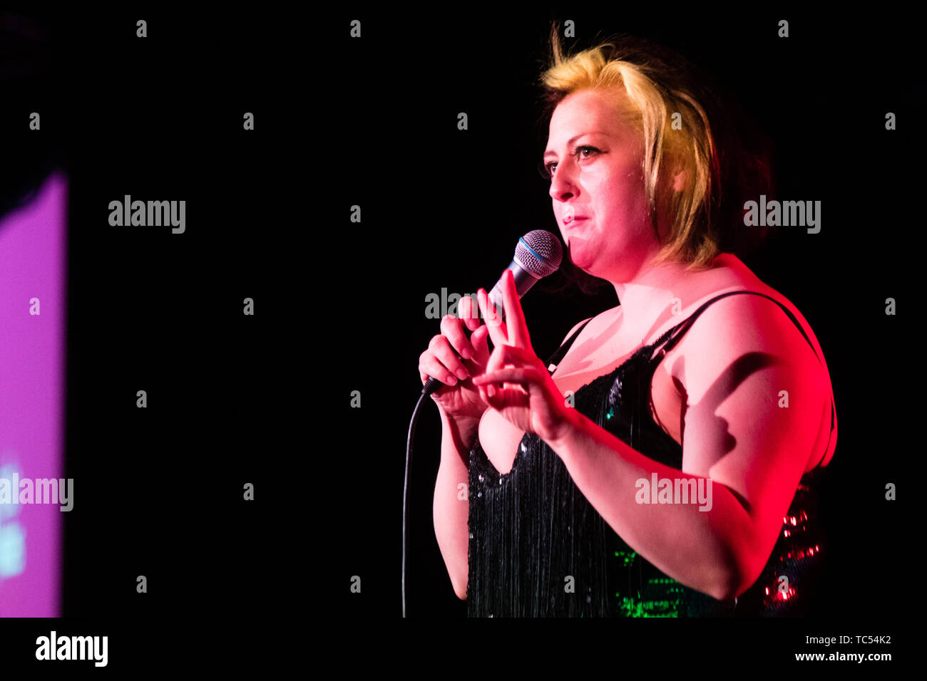 Kiri Pritchard-McLean , comedian, on stage at the  Machynlleth Comedy Festival  , May Bank Holiday Weekend, 2019 Stock Photo