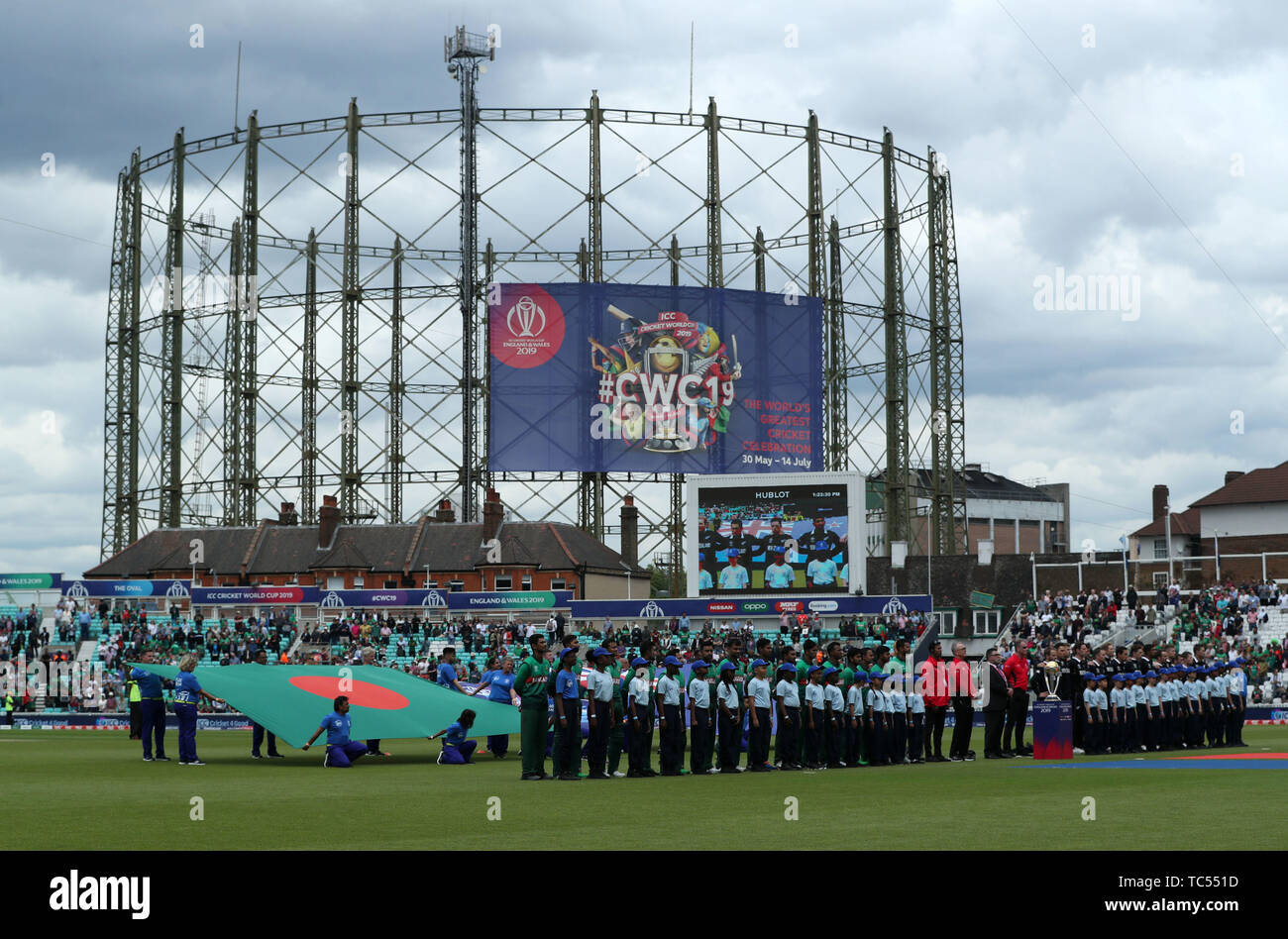 Bangladesh and New Zealand line up for the national anthems