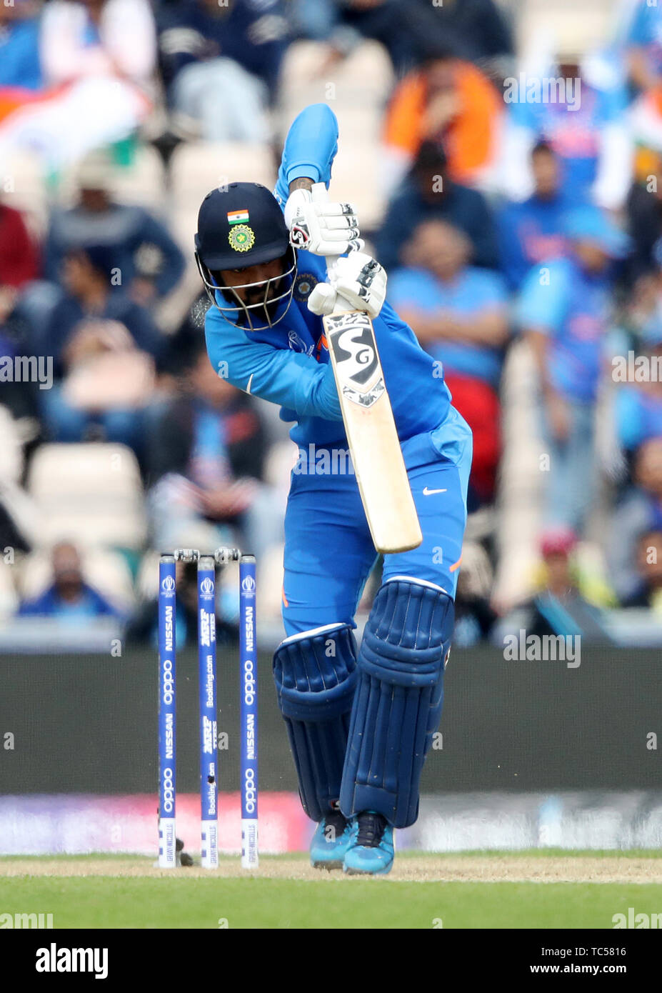 India's KL Rahul in action during the ICC Cricket World Cup group stage match at the Hampshire Bowl, Southampton. Stock Photo