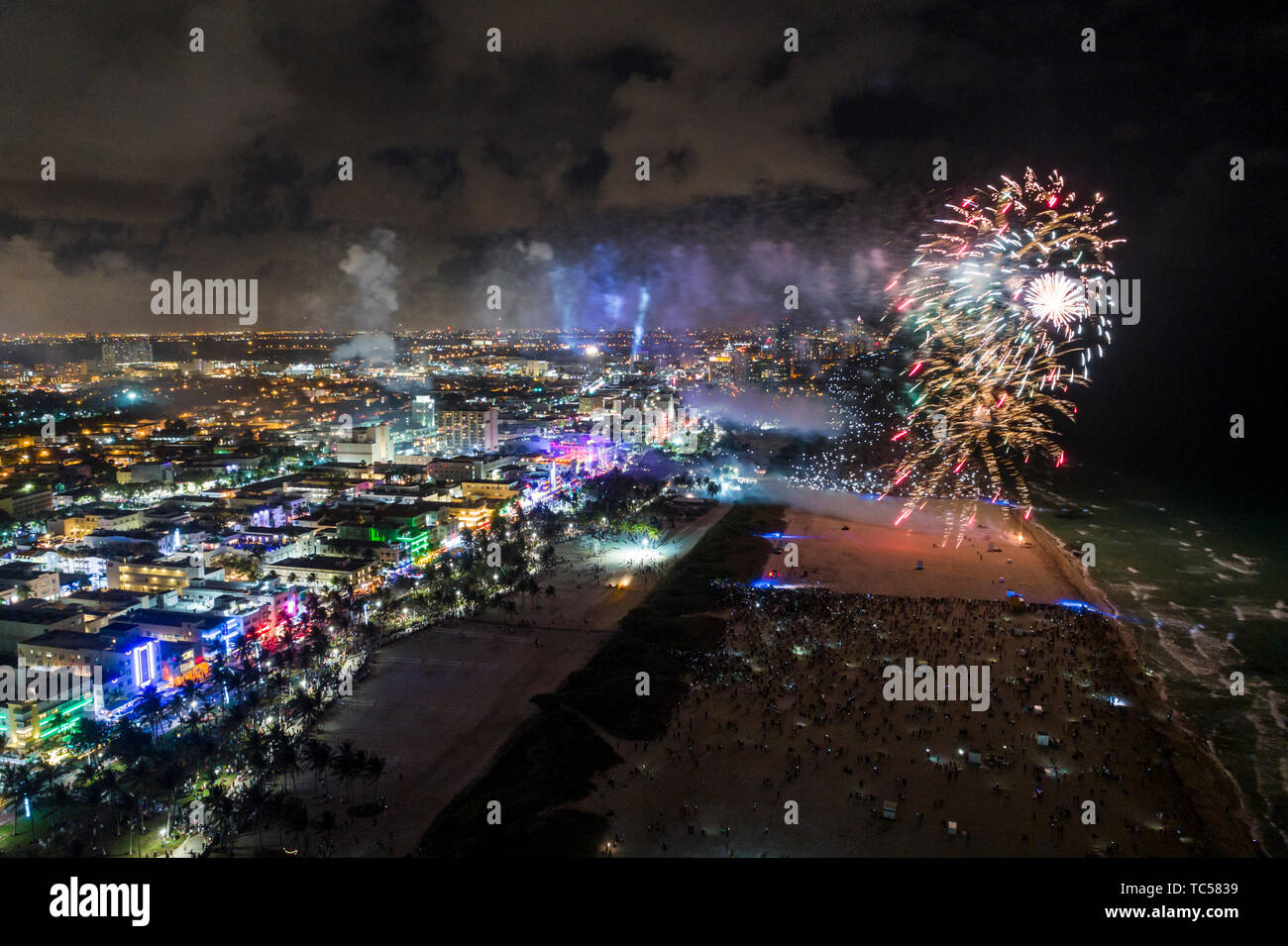 Miami Beach Florida New Year's Eve fireworks display celebration aerial overhead view above bird's eye - Stock Image