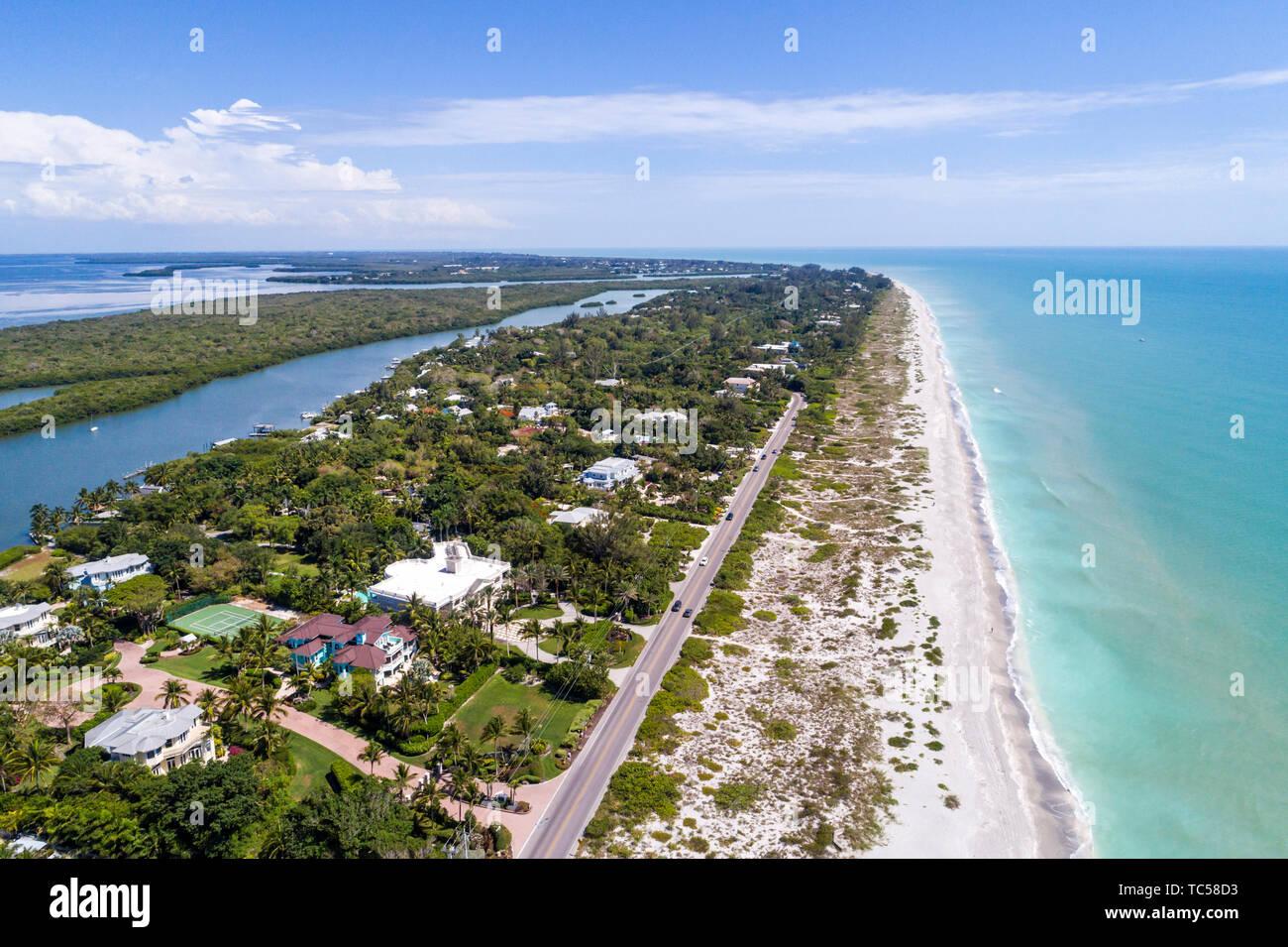 Captiva Island Florida Pine Island Sound Gulf of Mexico beach Roosevelt Channel Buck Key Preserve beach waves aerial overhead bird's eye view above Stock Photo