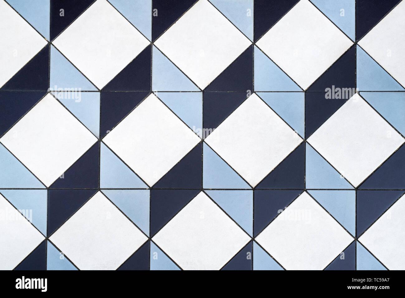 3D Cube Mosaic Tiles. Geometric three dimensional cube floor tiles. London, England Stock Photo
