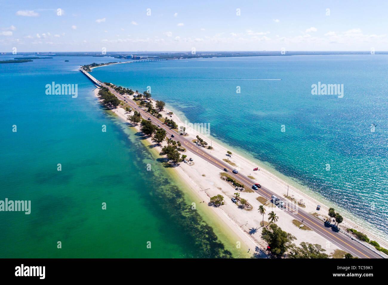 Sanibel Island Florida Causeway San Carlos Bay Causeway Islands Park aerial overhead bird's eye view above - Stock Image