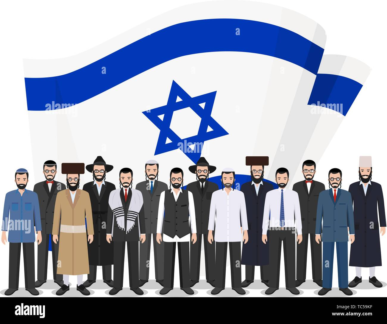 Social concept. Group adults jewish people standing together in row in different traditional national clothes on background with Israel flag in flat - Stock Image
