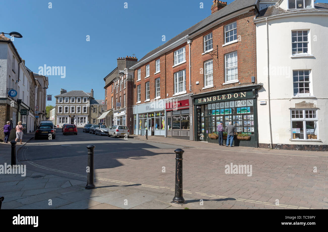 Shaftesbury, Dorset, England, UK. May 2019. Shaftesbury a market town in Dorset, England. The town centre. - Stock Image