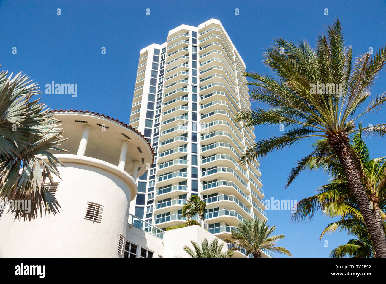 Miami Beach Florida North Beach Ocean Terrace St. Saint Tropez Ocean Front Condominium balconies high rise building Stock Photo