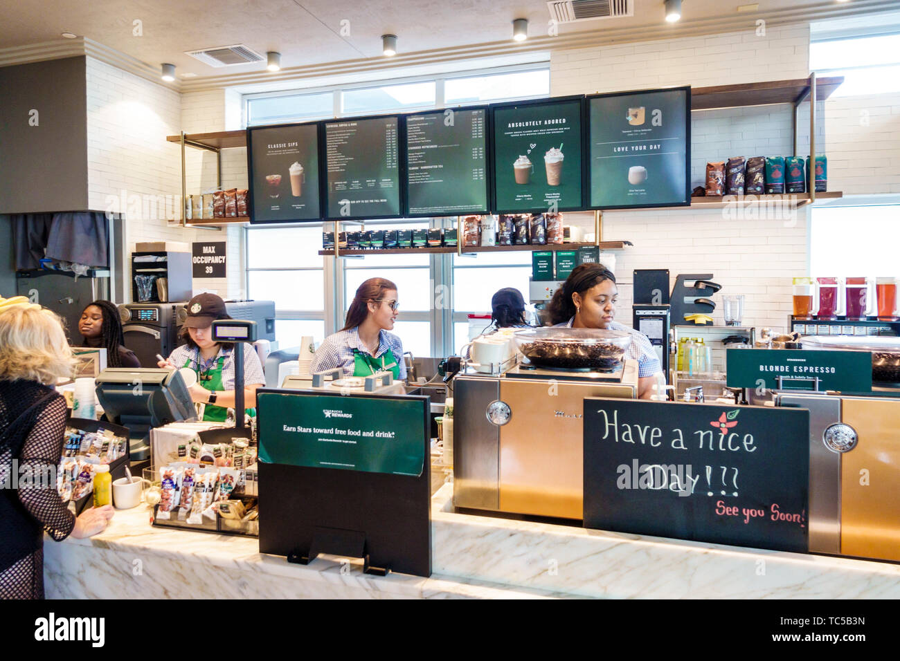 Miami Beach Florida South Beach Starbucks Coffee Cafe Inside