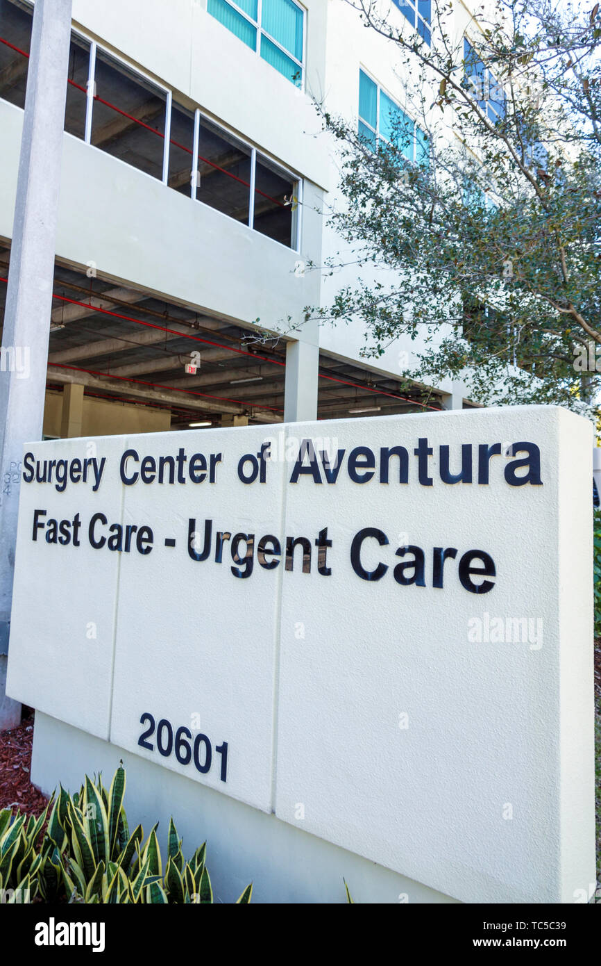 Miami Florida Aventura Integrated Medical Plaza Surgery Center centre of Aventura urgent care facility sign building exterior - Stock Image