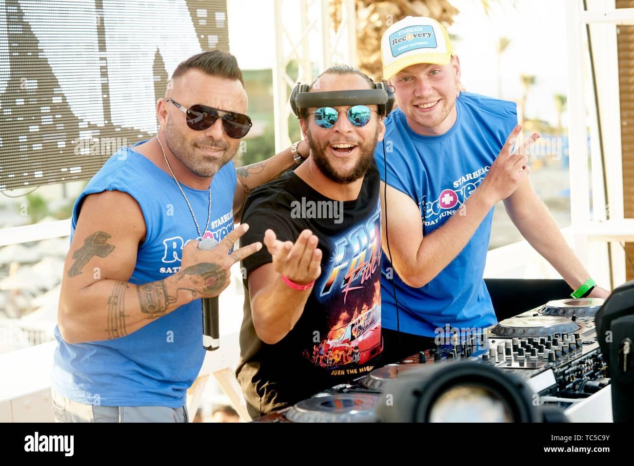 DJ Sebastian Bronk with DJ Revise and DJ Billy V at beach