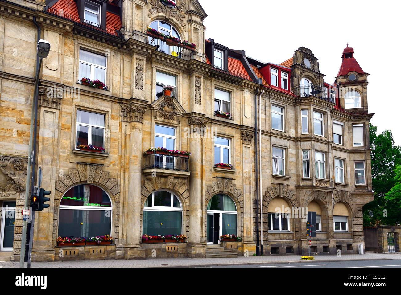 Traditional architecture - townhouse at Wilhelminenstrasse, Bayreuth - capital of Upper Franconia, Bavaria, Bayern, Germany, Europe - Stock Image