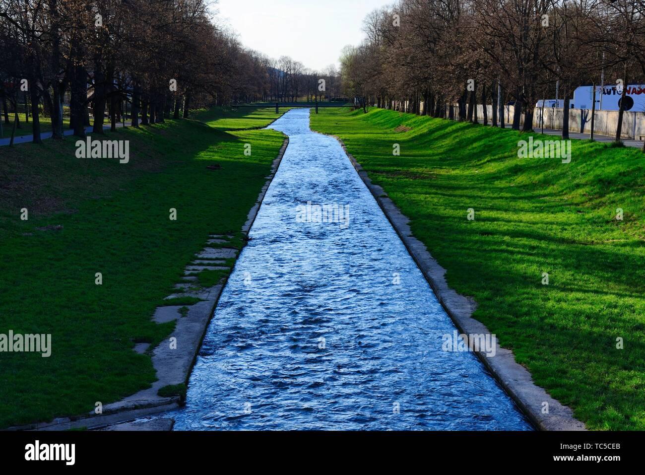 Roter Main - Red Main river, city center of Bayreuth, Upper Franconia, Bavaria, Bayern, Germany, Europe - Stock Image