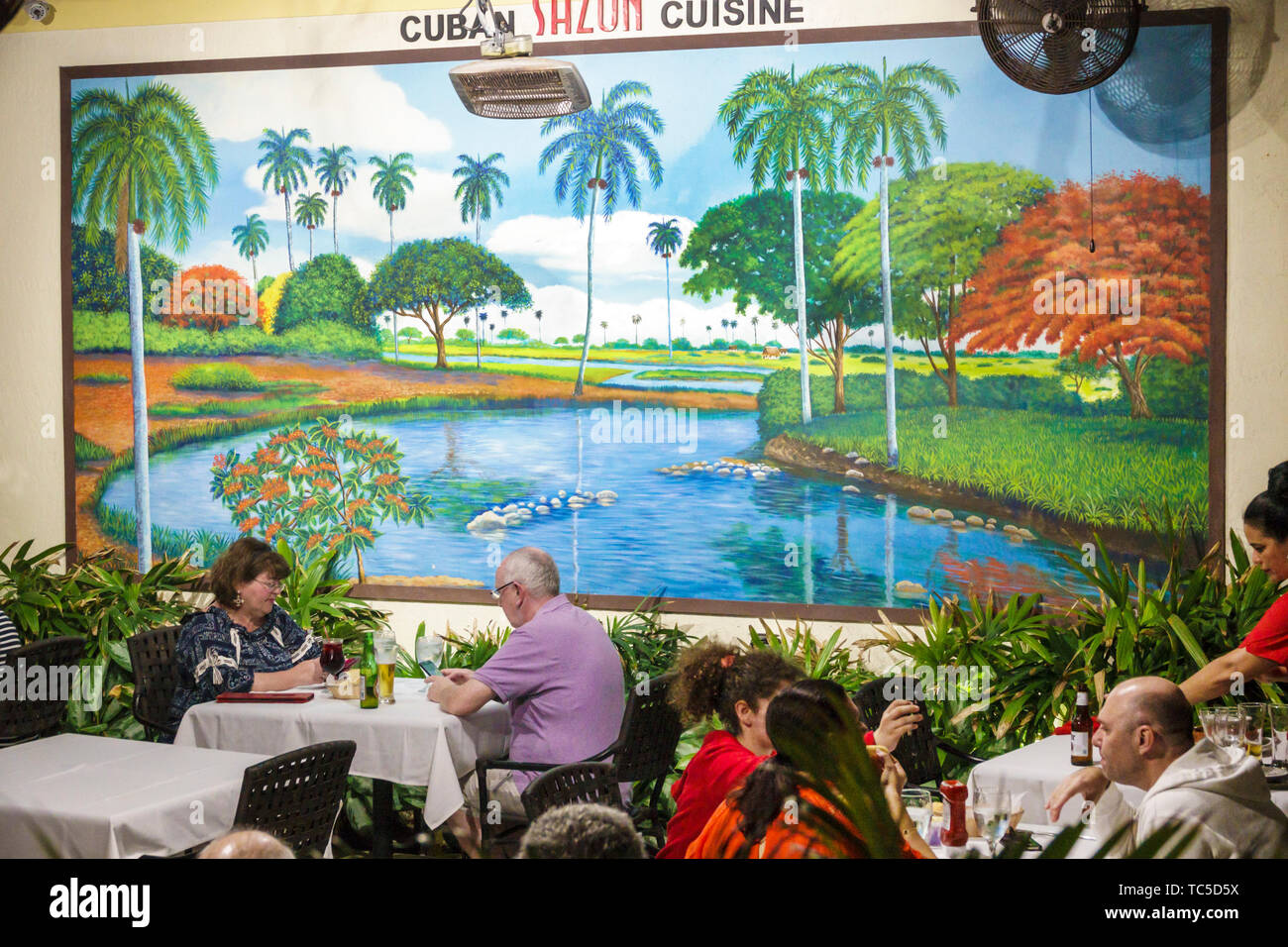 Florida, Miami Beach, North Beach, Collins Avenue, Sazon Cuban Cuisine, restaurant restaurants food dine dining eating out casual cafe cafes, bistro b Stock Photo