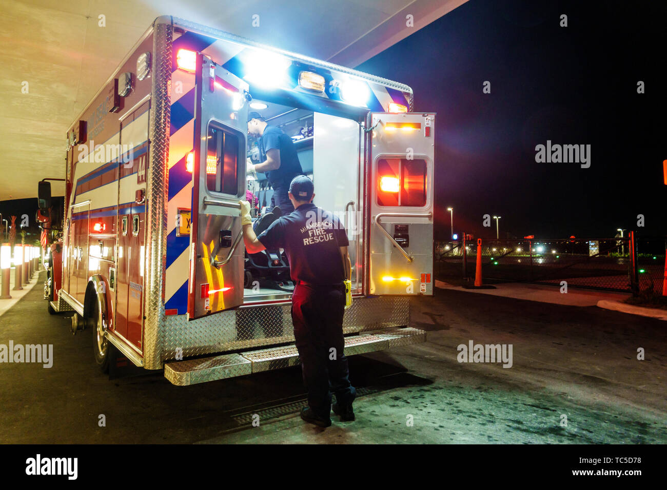 Miami Beach Florida Mount Mt. Sinai Medical Center centre hospital Fire Rescue medical emergency room ambulance vehicle EMT Stock Photo
