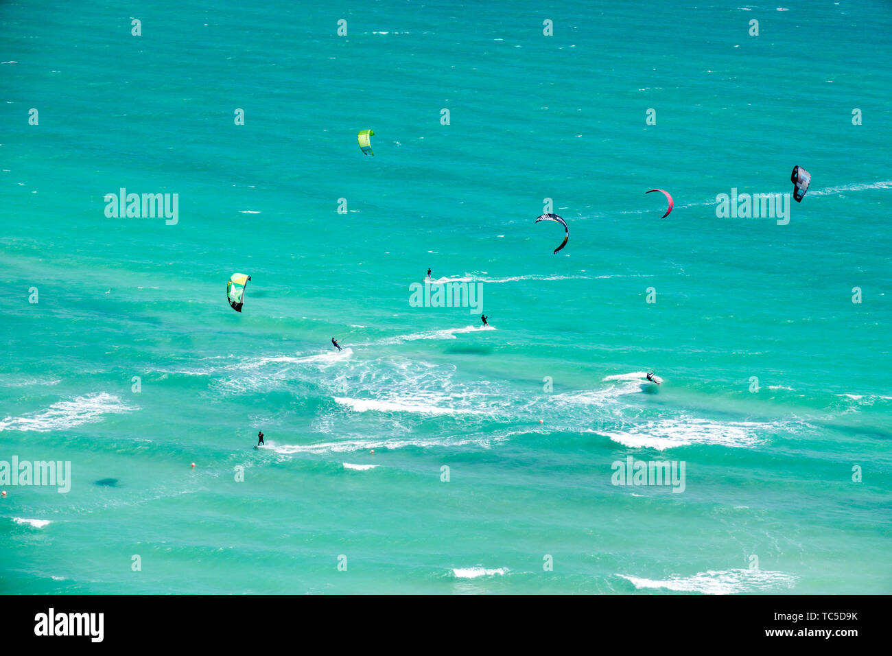 Miami Beach Florida North Beach Atlantic Ocean kiteboarding kitesurfing kitesurfers watersports - Stock Image