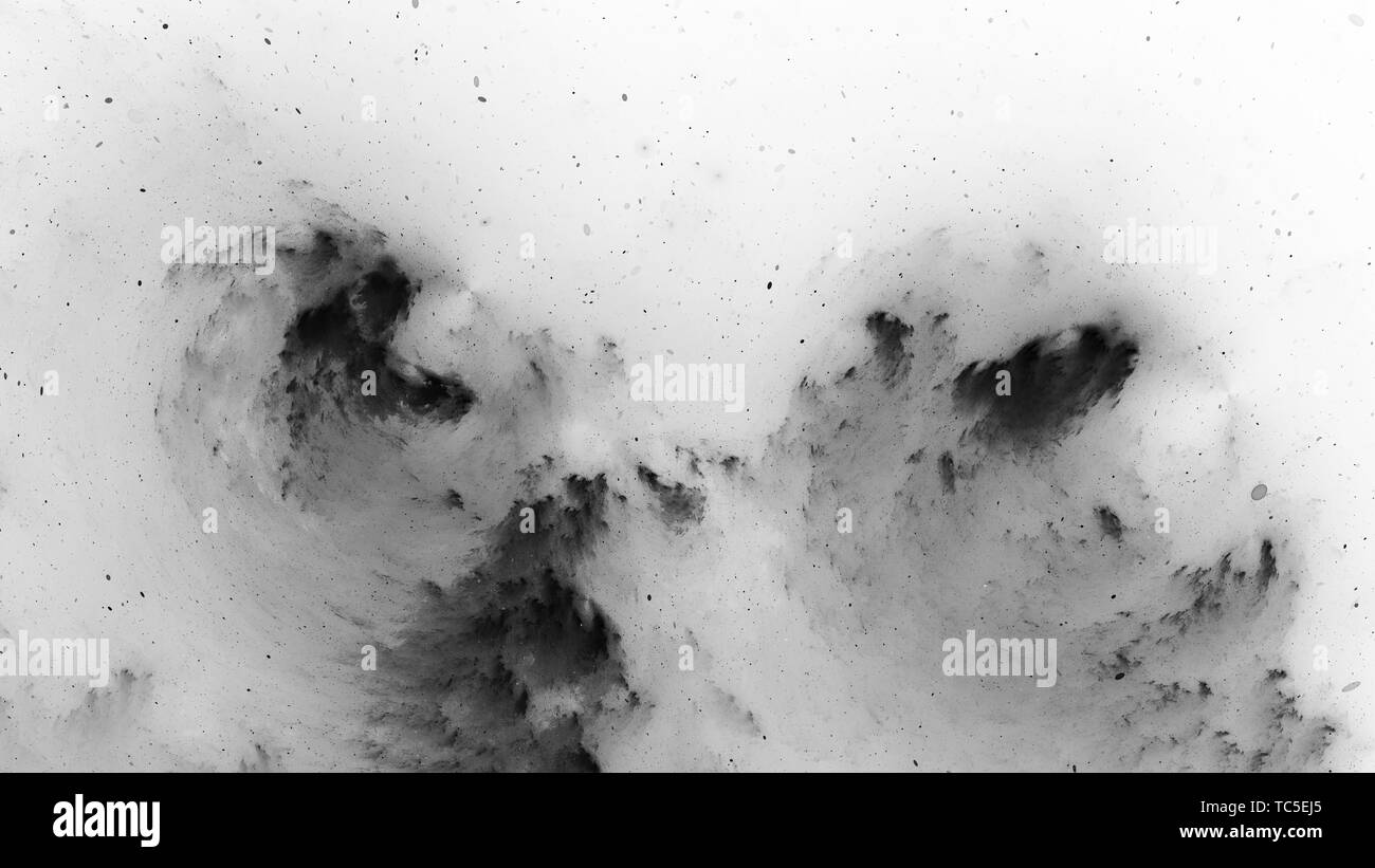 Dark matter, black and white, computer generated abstract intensity map, 3D rendering - Stock Image