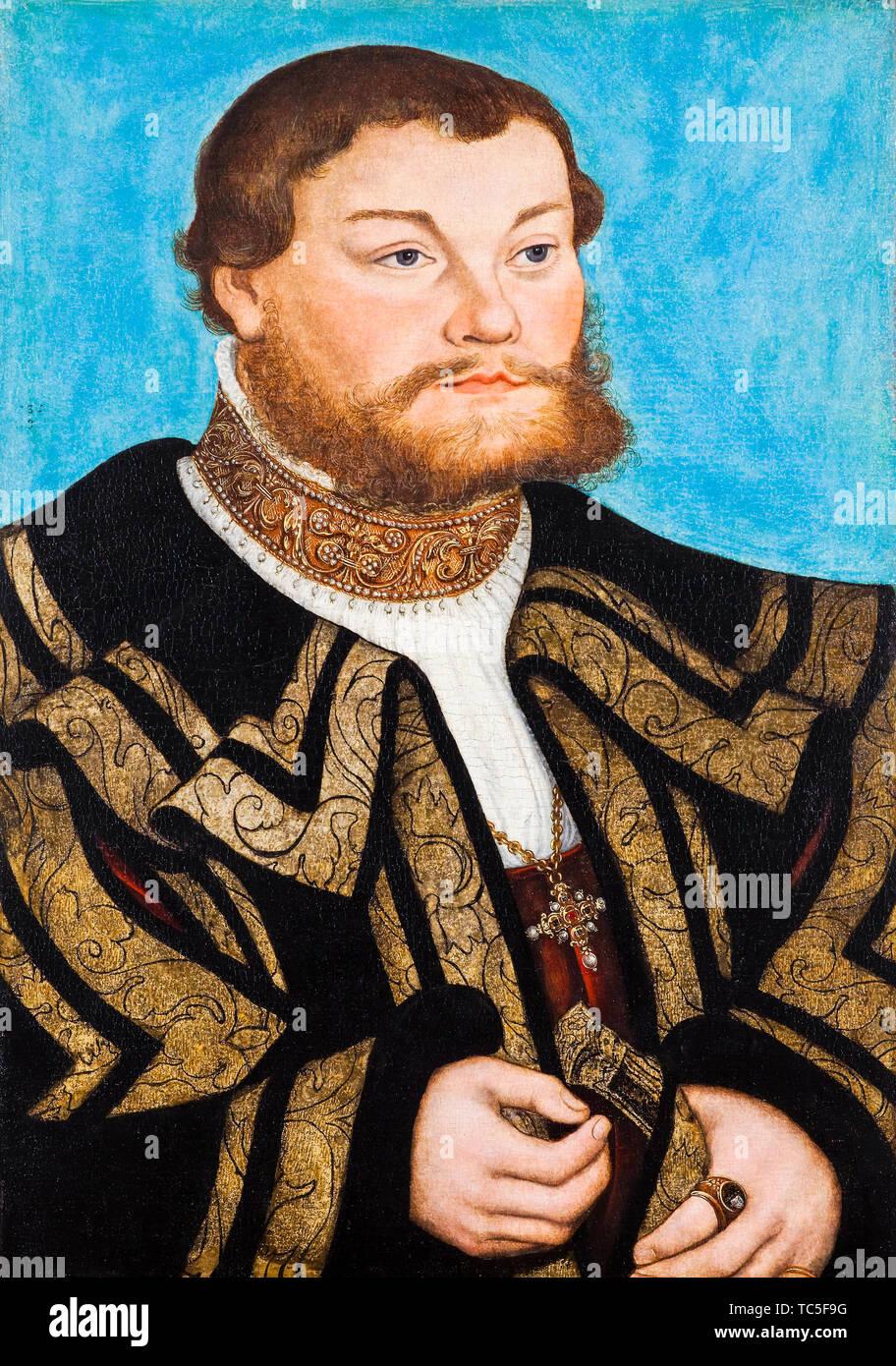 Lucas Cranach the Elder, John V, Prince of Anhalt-Zerbst, 1504-1551, portrait painting, 1532 Stock Photo