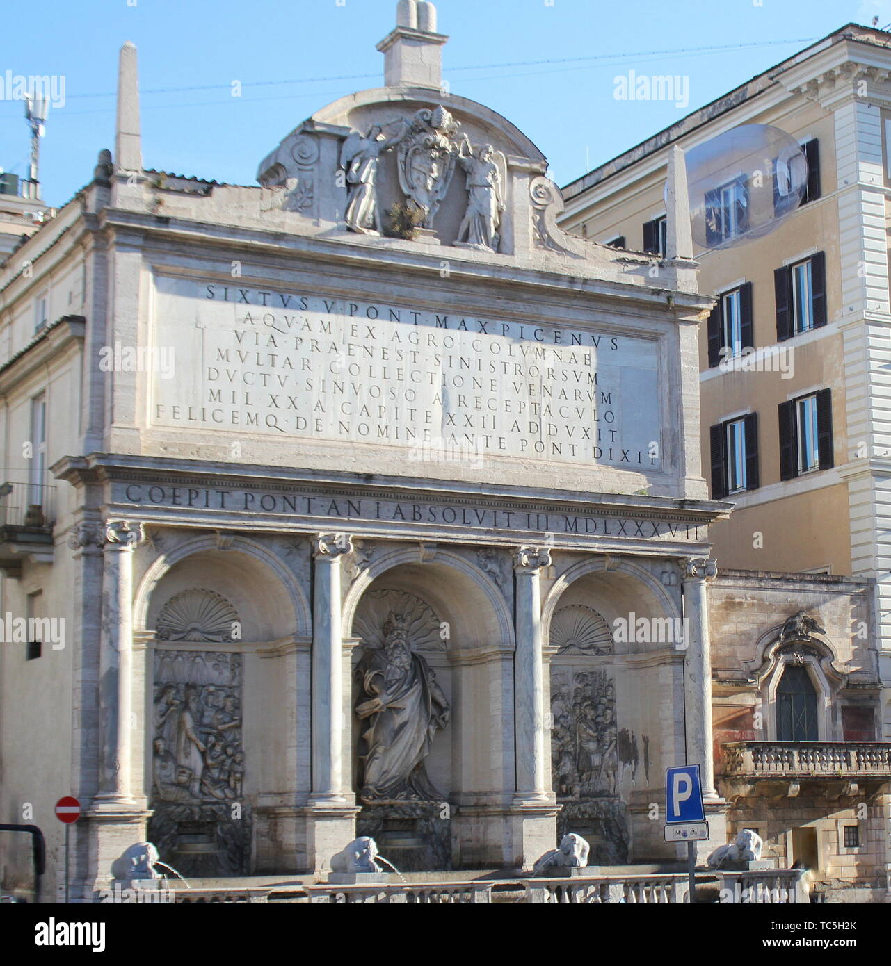 Rome, Italy-December 28 2018 : View of Fountain of Moses (Fountain Acqua Felice) in city of Rome, Italy - Stock Image