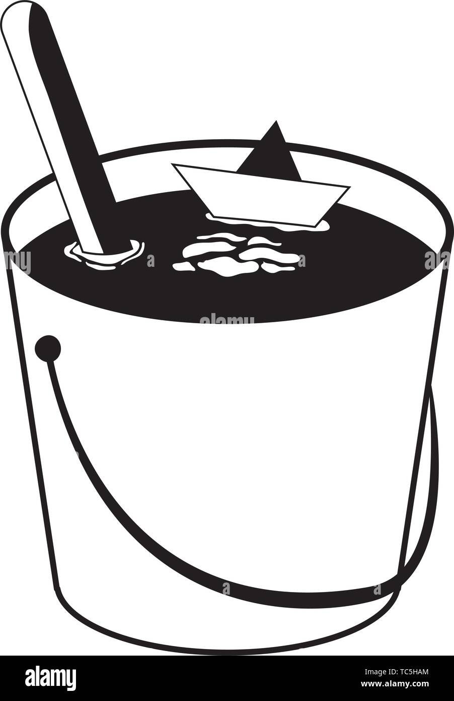 water bucket with paper ship vector illustration design - Stock Vector