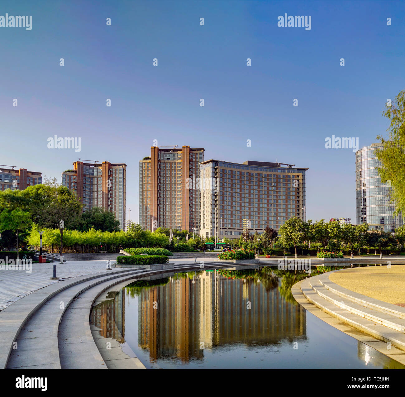 Architectural Scenery of Yinchuan City Stock Photo