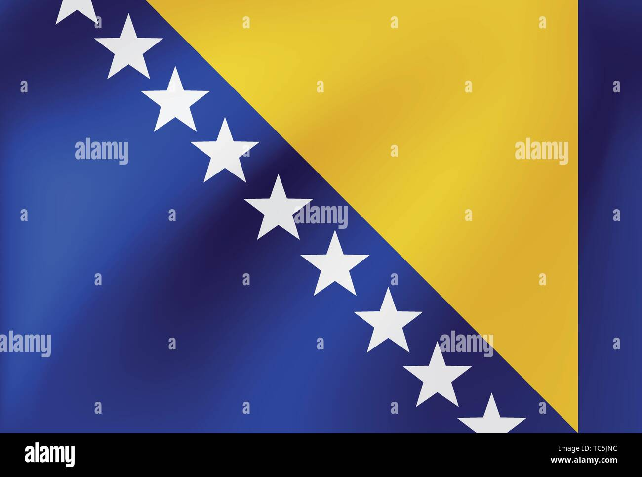 Vector national flag of Bosnia and Herzegovina. Illustration for sports competition, traditional or state events. - Stock Vector