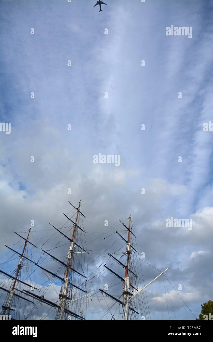 Masts of the British Clipper ship Cutty Sark at dry dock at Greenwich. London, England, Great Britain, Europe. - Stock Image