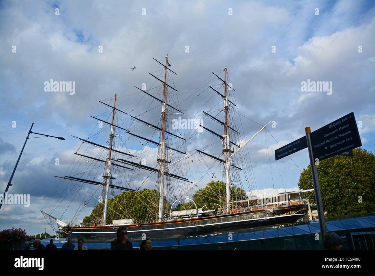 British Clipper ship Cutty Sark at dry dock at Greenwich. London, England, Great Britain, Europe. - Stock Image