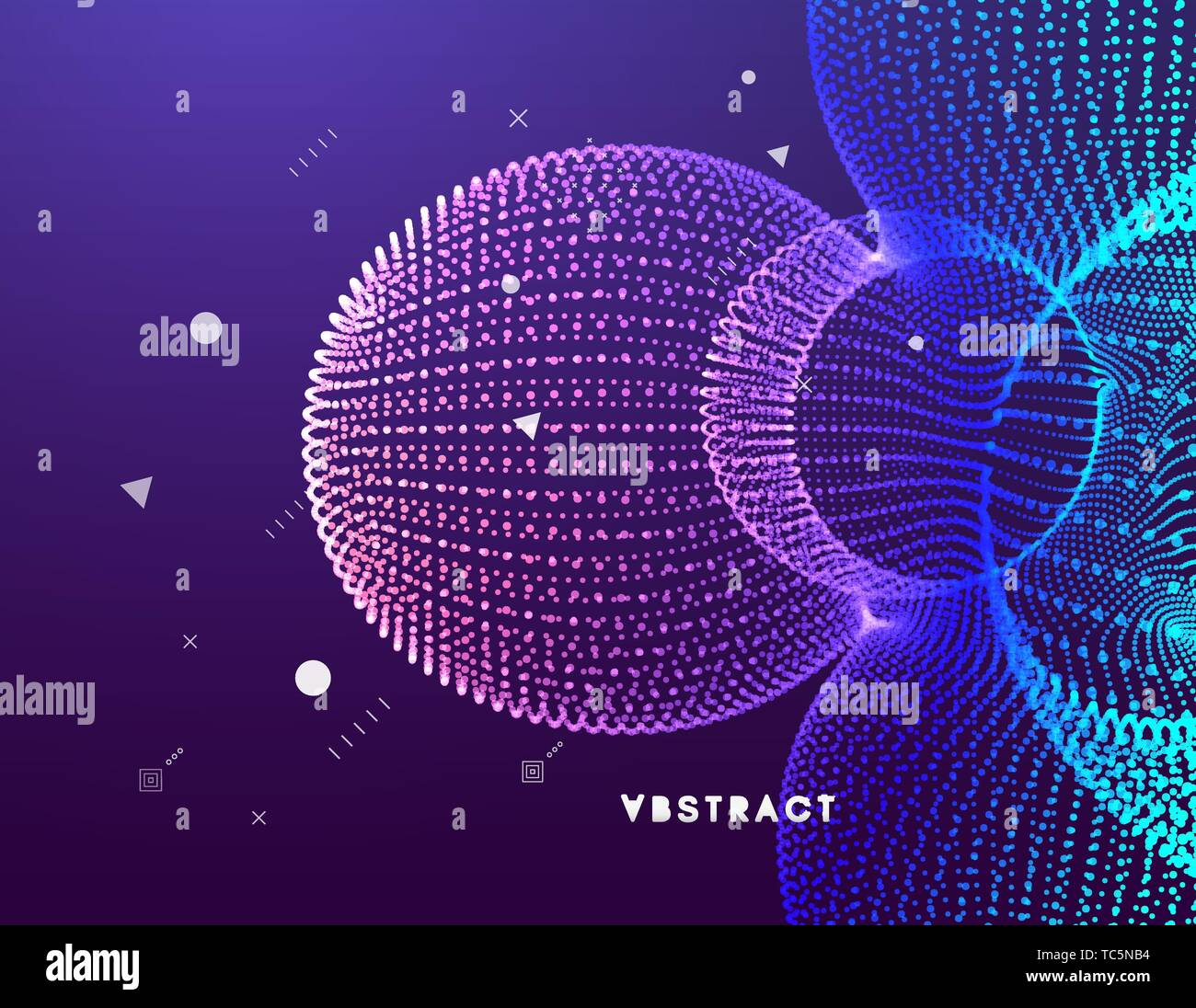 3D abstract molecular structure. Technology style for science, education, big data, visualization and artificial intelligence. Vector illustration. Stock Vector