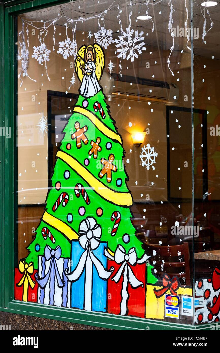 Christmas Restaurant Nyc.Painted Holiday Decorations On A Nyc Restaurant Window Stock