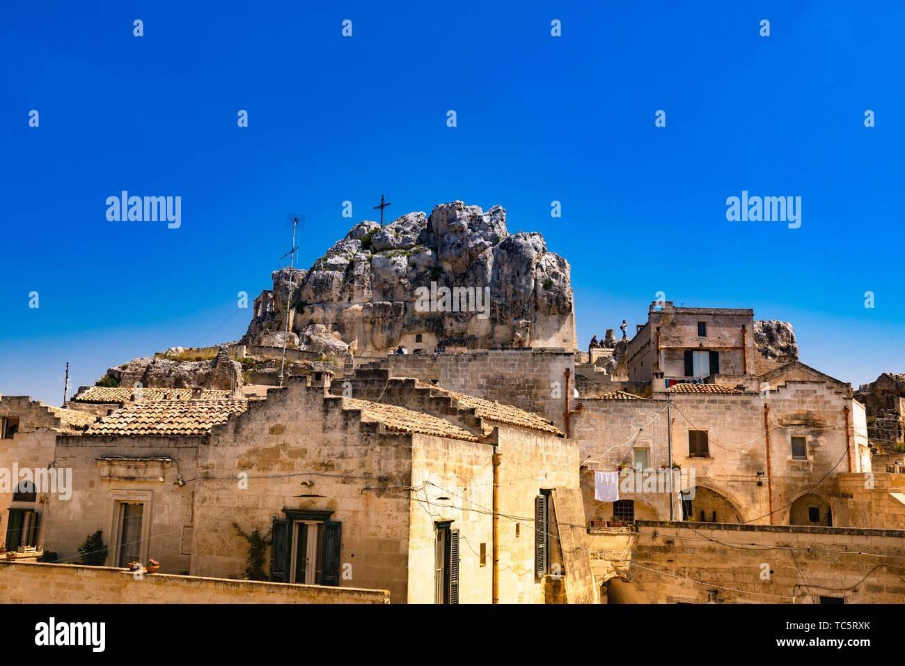 Exterior rural church Santa Lucia alle Malve Matera Italy Stock Photo