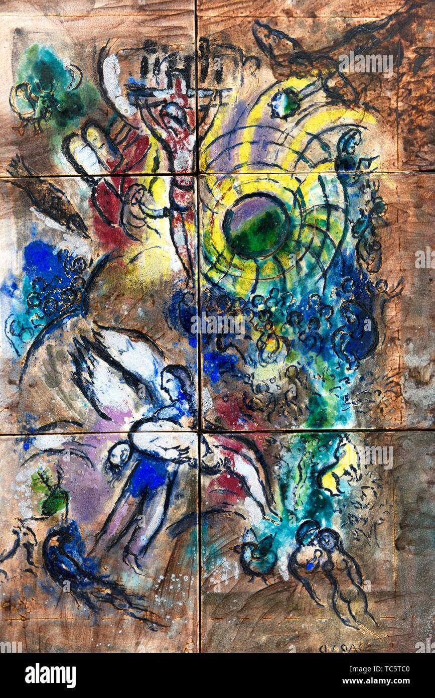 The creation of man,1959,a painting by Marc Chagall in the Chagall Museum in Nice,South France. - Stock Image