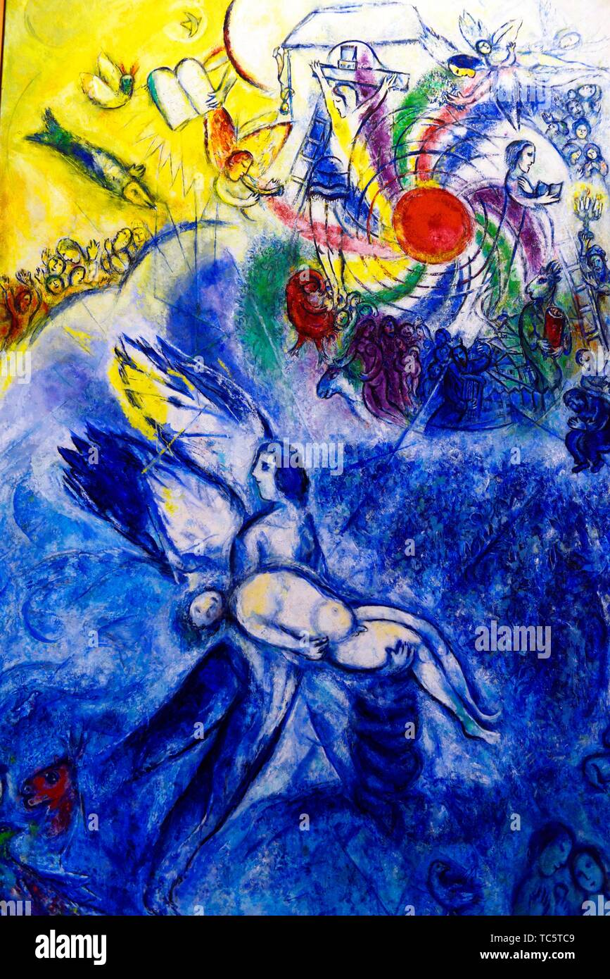 The Creation of Man,1956-1958,a painting by Marc Chagall in the Chagall Museum in Nice,South France. - Stock Image