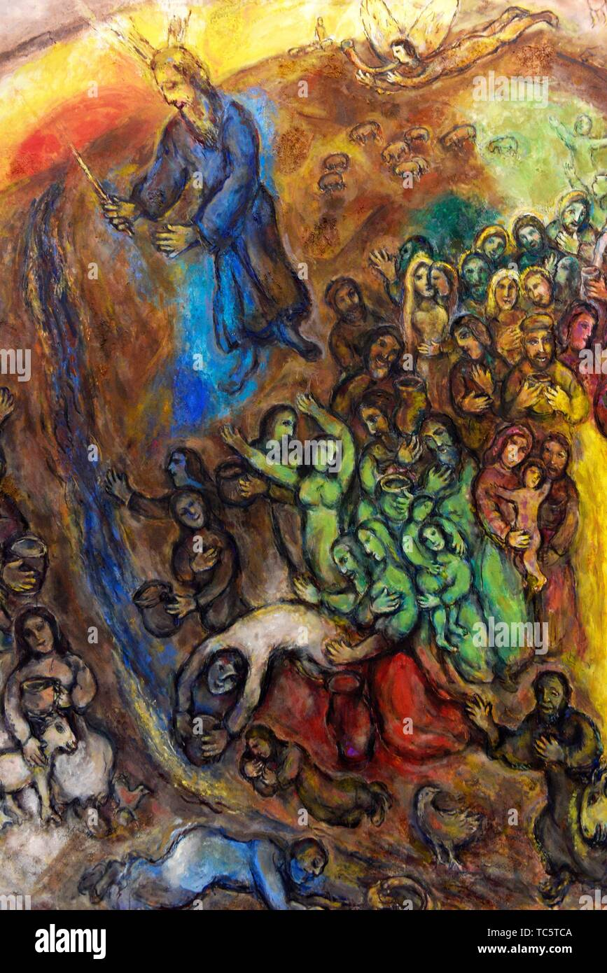 Moses striking the rock,1960-1966,oil on canvas,a painting by Marc Chagall in the Chagall Museum in Nice,South France. - Stock Image