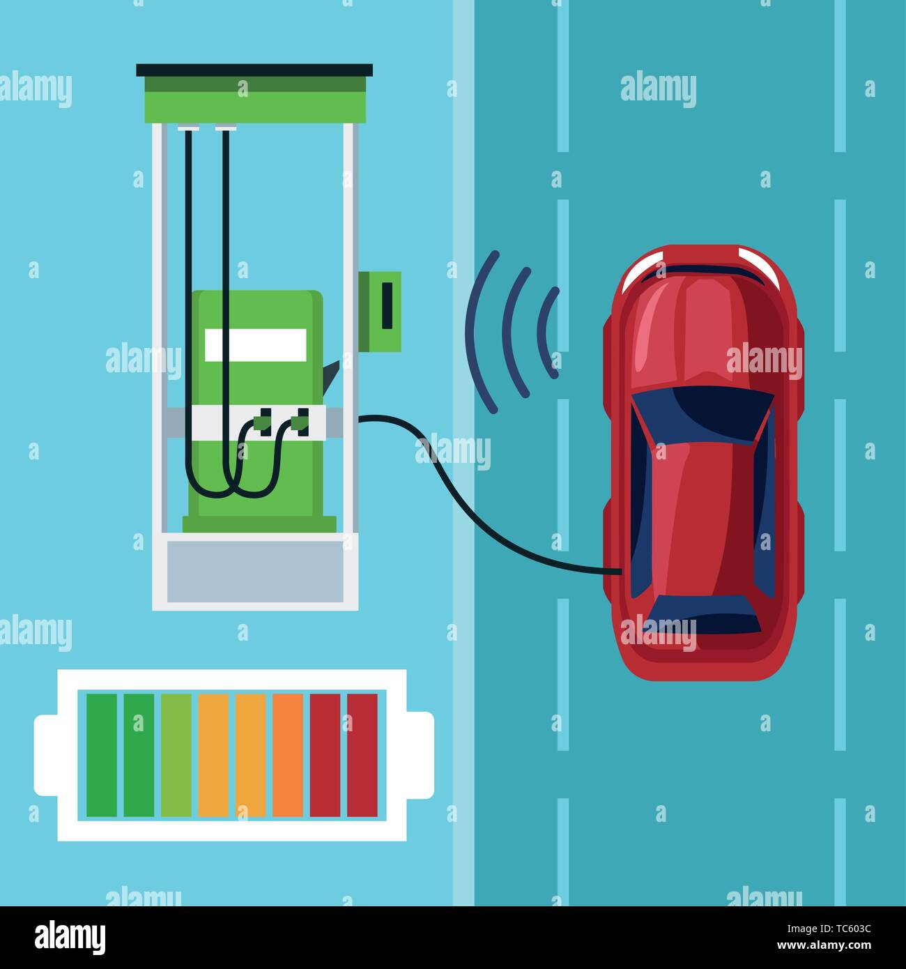 car internet conectivity in gas station - Stock Image