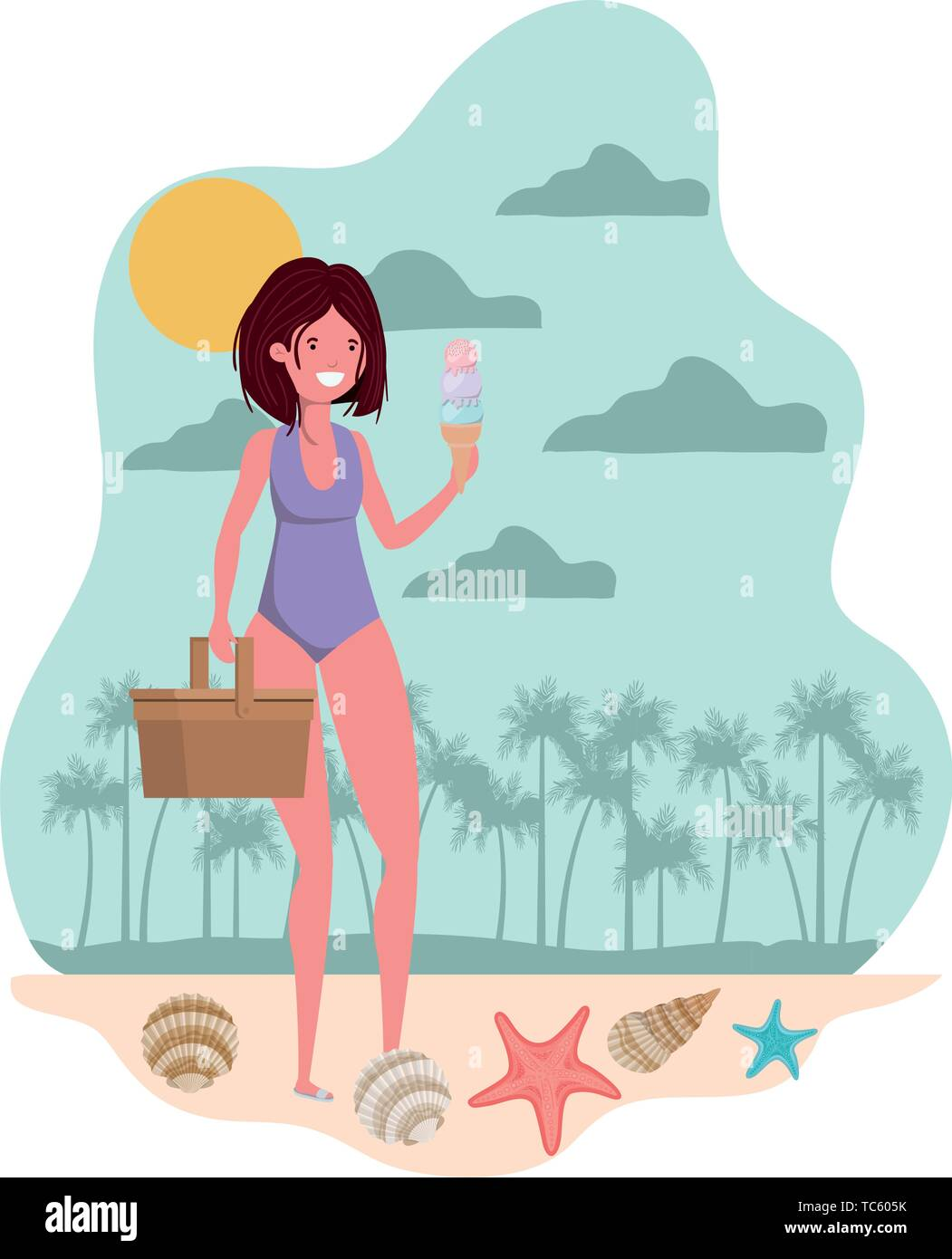woman with swimsuit and straw picnic - Stock Vector