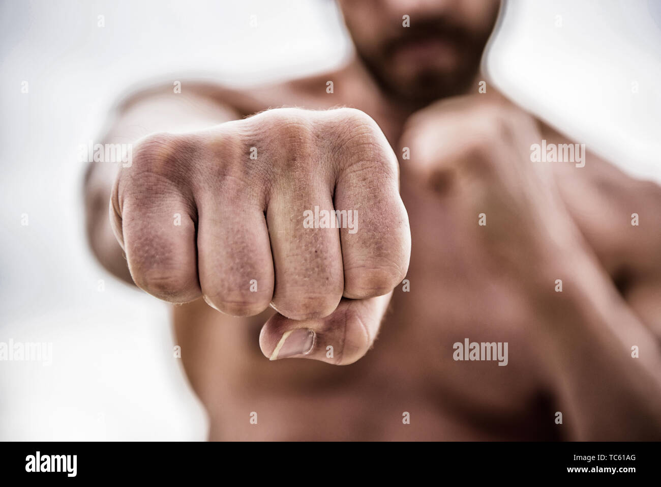 fist punch. knockout and energy. Sport is our life. no pain no gain. Great progress. success and prigress. strong man punch with huge power. absolute winner. - Stock Image