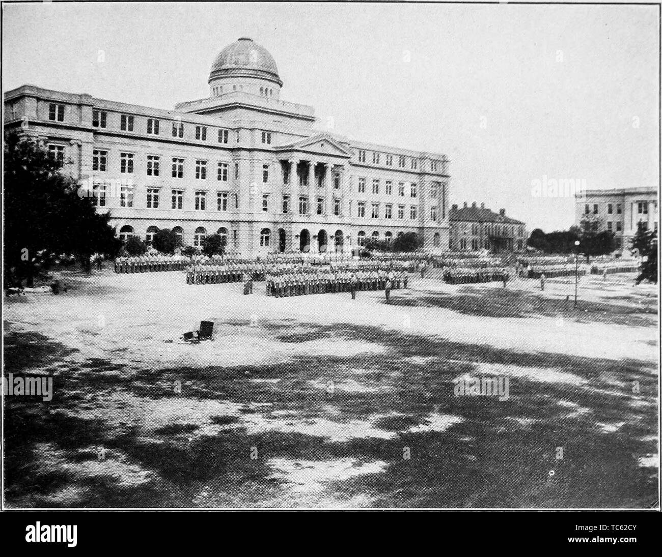 Photograph of the main building and cadet corps of Agricultural and Mechanical College, College Station, Texas, from the book 'Book of Texas' by Harry Yandell Benedict and John A. Lomax, 1916. Courtesy Internet Archive. () - Stock Image